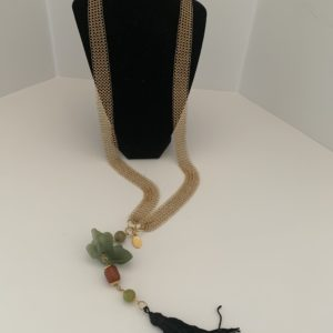 Chain Maille + Jade Figure Tassel Necklace