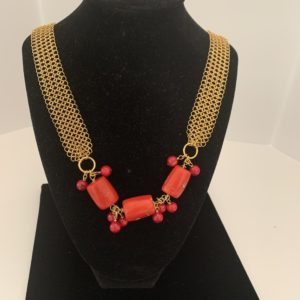 Coral Mesh Gold Necklace