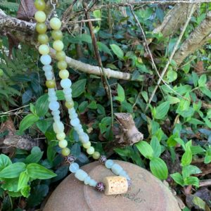 Jade and Decorative Carved Bone Necklace