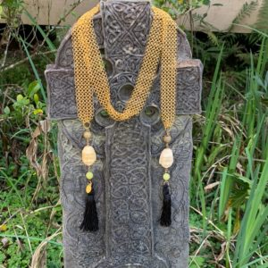 Chain Maille + Jade Buddha Tassel Necklace