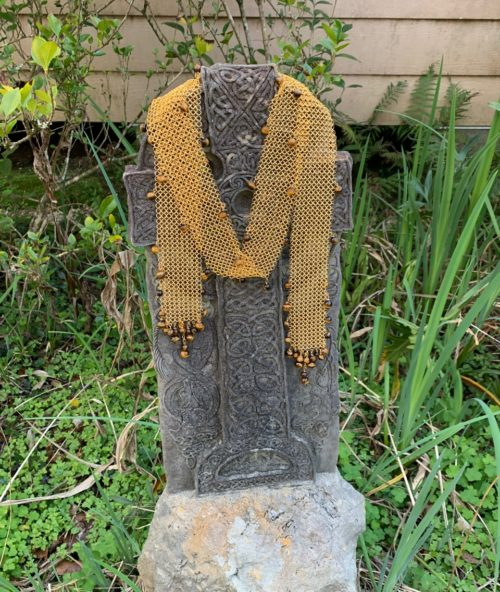 Gold Chain Maille Necklace/Scarf/Belt – Tigers Eye