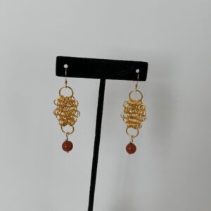 Gold Mesh & Cornelian Pierced Earrings