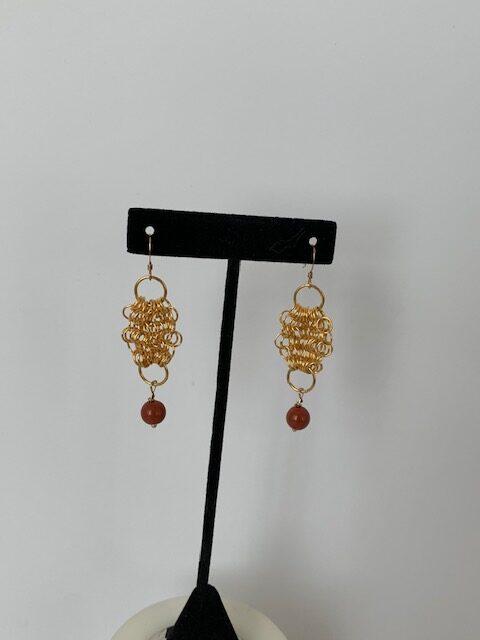 Gold Mesh Pierced Earrings With Cornelian Beads