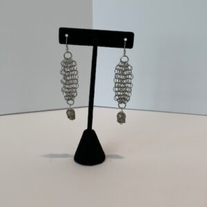 Silver Mesh Pierced Earrings