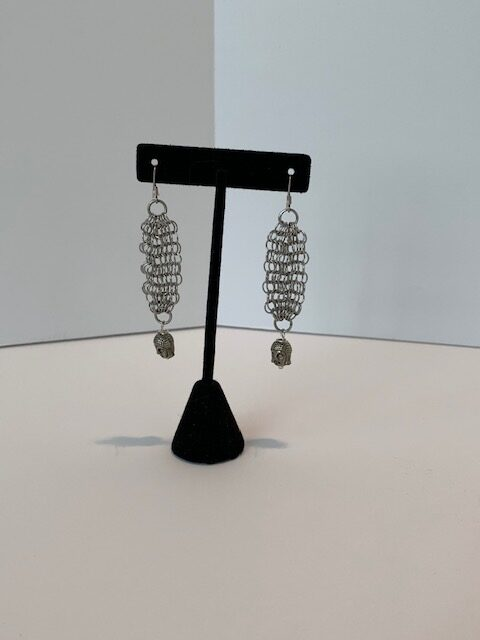 Silver Mesh Pierced Earrings With Buddha Charm