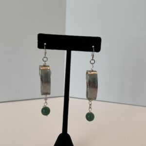 Silver Oval Earrings with Light & Dark Jade Drop