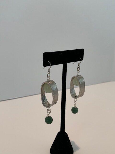 Silver Oval Earrings with Light & Dark Jade Drop