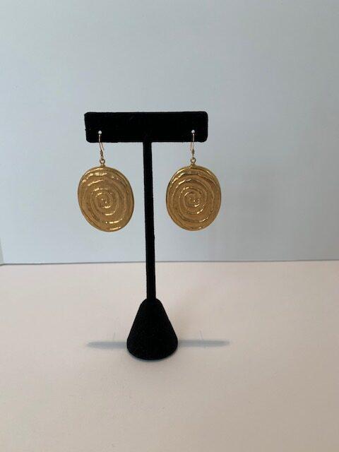 Gold Plated Original Spiral Design Pierced Earrings