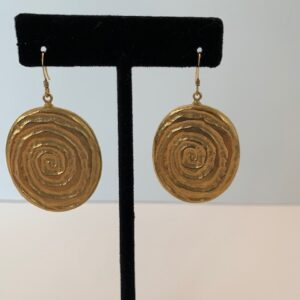 Gold Plated Original Spiral Design Pierced Earrings