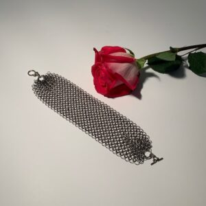 Antique Silver Chain Maille Mesh Bracelet