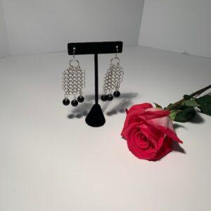 Silver with Black Onyx Pierced Earrings