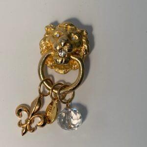 Gold Royal Lion Knocker Pin with Fleur de Lis