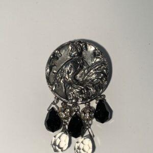 Art Nouveau Antique Silver / Bird Lady Broach