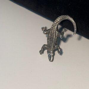 Alligator Pin With Swarovski Crystal Eyes – Antique Silver or Gold