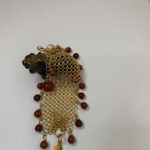 Gold Mesh Bracelet with Cornelian and Jasper Stones