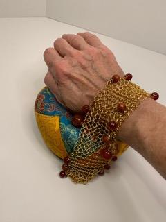 Gold Mesh Bracelet with Jasper, Cornelian and African Amber Stones