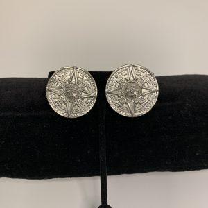 Mayan Calendar Clip Earrings In Silver