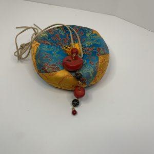 Red Coral with Carved Brown Jade Antique Prayer Beads Tassel on Adjustable Tan Deer Leather String