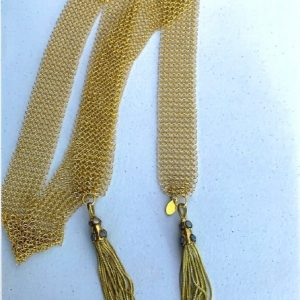 Gold Mesh Tassel Necklace Lariat With Moonstones