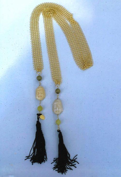Chain Maille + Jade Buddha Tassel Necklace, Lariat, Scarf, Belt