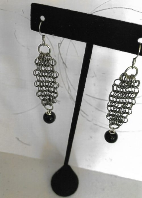 Antique Silver Earrings with Single Genuine Black Onyx