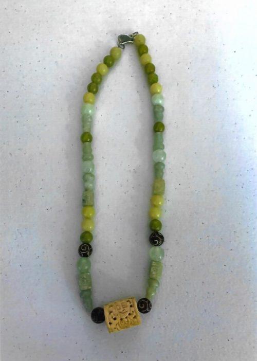 Genuine Jade and Decorative Carved Bone Necklace