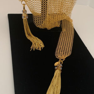 Gold Mesh Tassel Necklace With Stones
